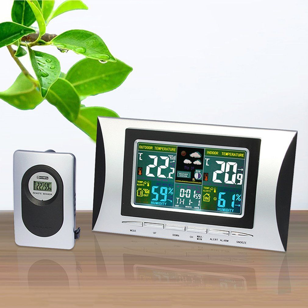 H102G Wireless Multi-use Colorful LCD Display Digital Alarm Clock Weather Station Indoor Thermometer Weather Forecast