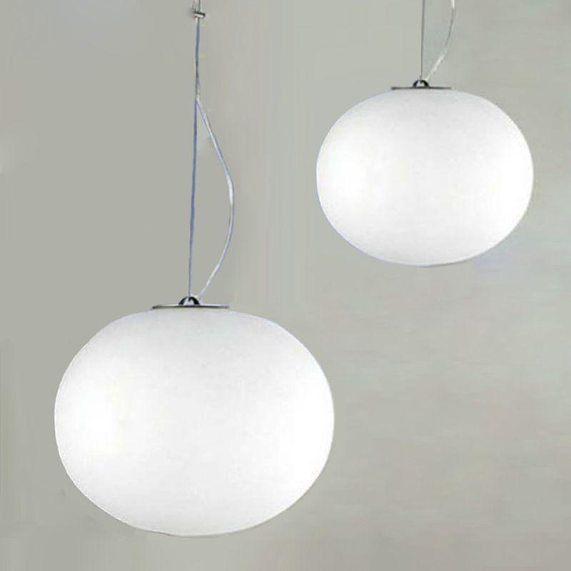 Lampes suspendues minimaliste moderne boule de verre blanc lait lampes suspendues Restaurant/Bar diamètre 18/24/33/45 cm