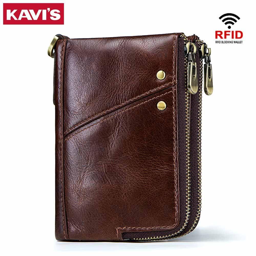 KAVIS Rfid 100% véritable cheval fou en cuir portefeuille hommes petit Walet Portomonee mâle Cuzdan court porte-monnaie portefeuille porte-carte