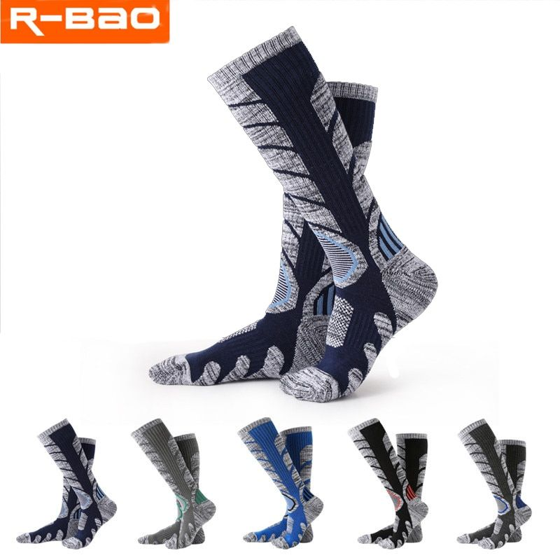 R-BAO 1 Pair Autumn Winter Cotton Outdoor Mountaineering Hiking Ski Socks Thicken Warm Half Sports Socks For Women Men Wholesale