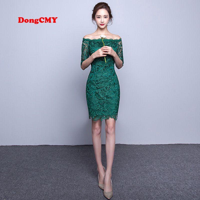 DongCMY nouveau 2019 mode courte élégante manches moyennes dentelle couleur verte fête bandage robe de Cocktail