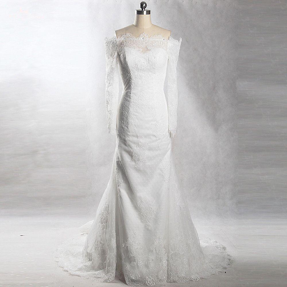 RSW904 Yiaibridal Eigentliche Aufgabe Französisch Lace Dots Tüll Meerjungfrau Off Schulter Hochzeitskleid Langarm