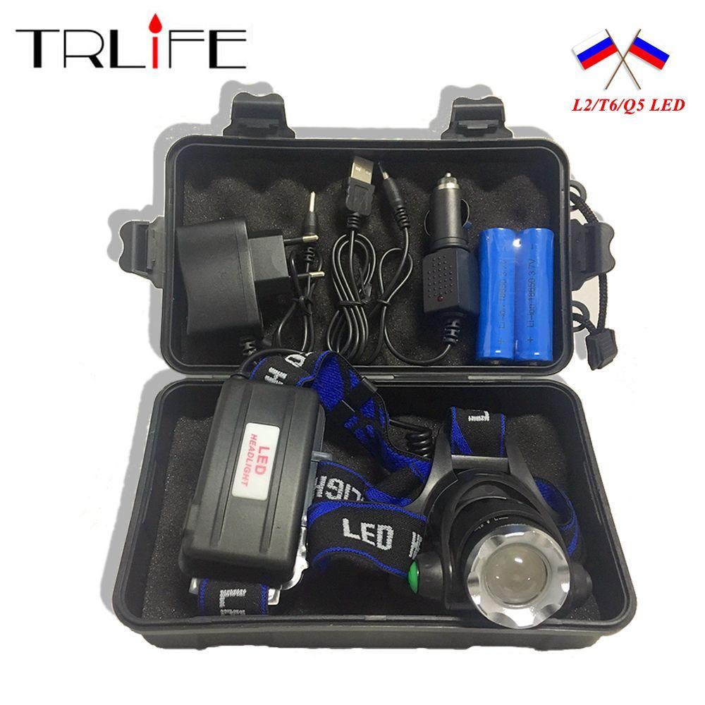 10000LM V6 L2 LED Phare de Phare Lampe Zoomables lampe de Poche Lumière 3 Mode Mise À Niveau Head Light + AC/chargeur De Voiture + 2*18650 Batterie