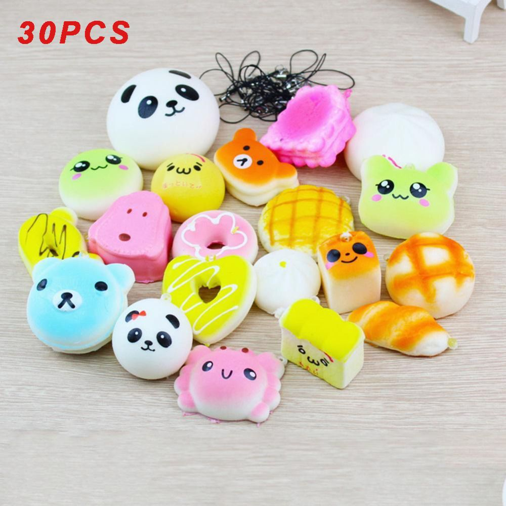 30 Pcs Soft Random Squishy Slow Rising Bread Cake Bun Pendant Donut Charm Toy Stretchy Squeeze Cream Scented Cute Strap