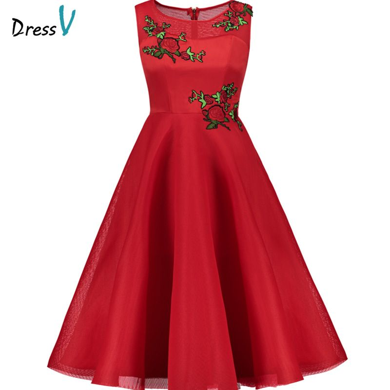 Dressv Red cocktail dress cheap scoop neck a line mid-calf sleeveless graduation party dress elegant fashion cocktail dress