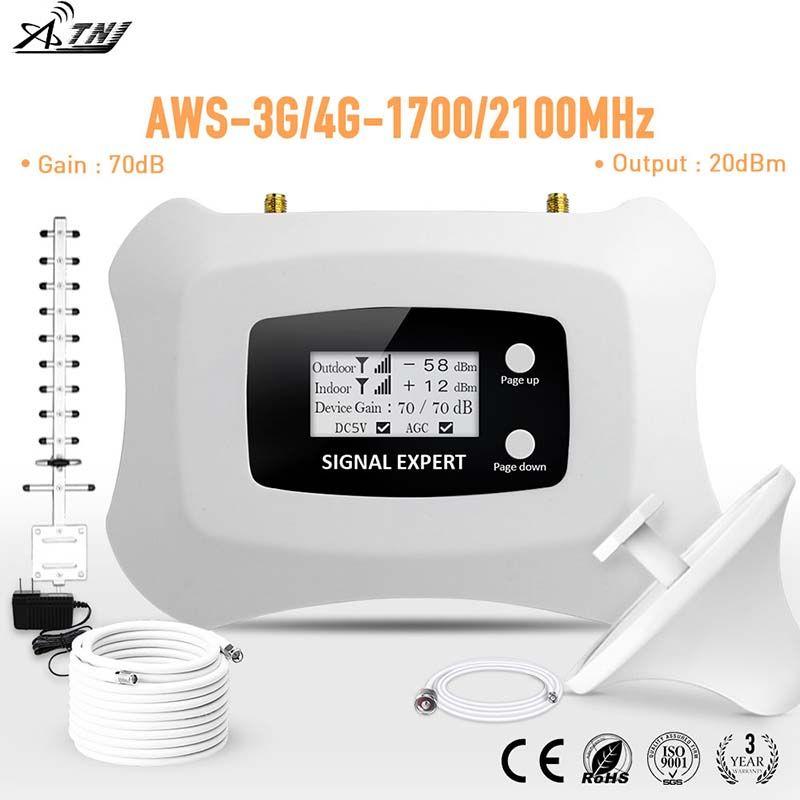 Puissant amplificateur de signal mobile à répéteur intelligent 1700mhz 3g 4g LTE amplificateur de signal cellulaire 3g 4g kit de répéteur avec Yagi