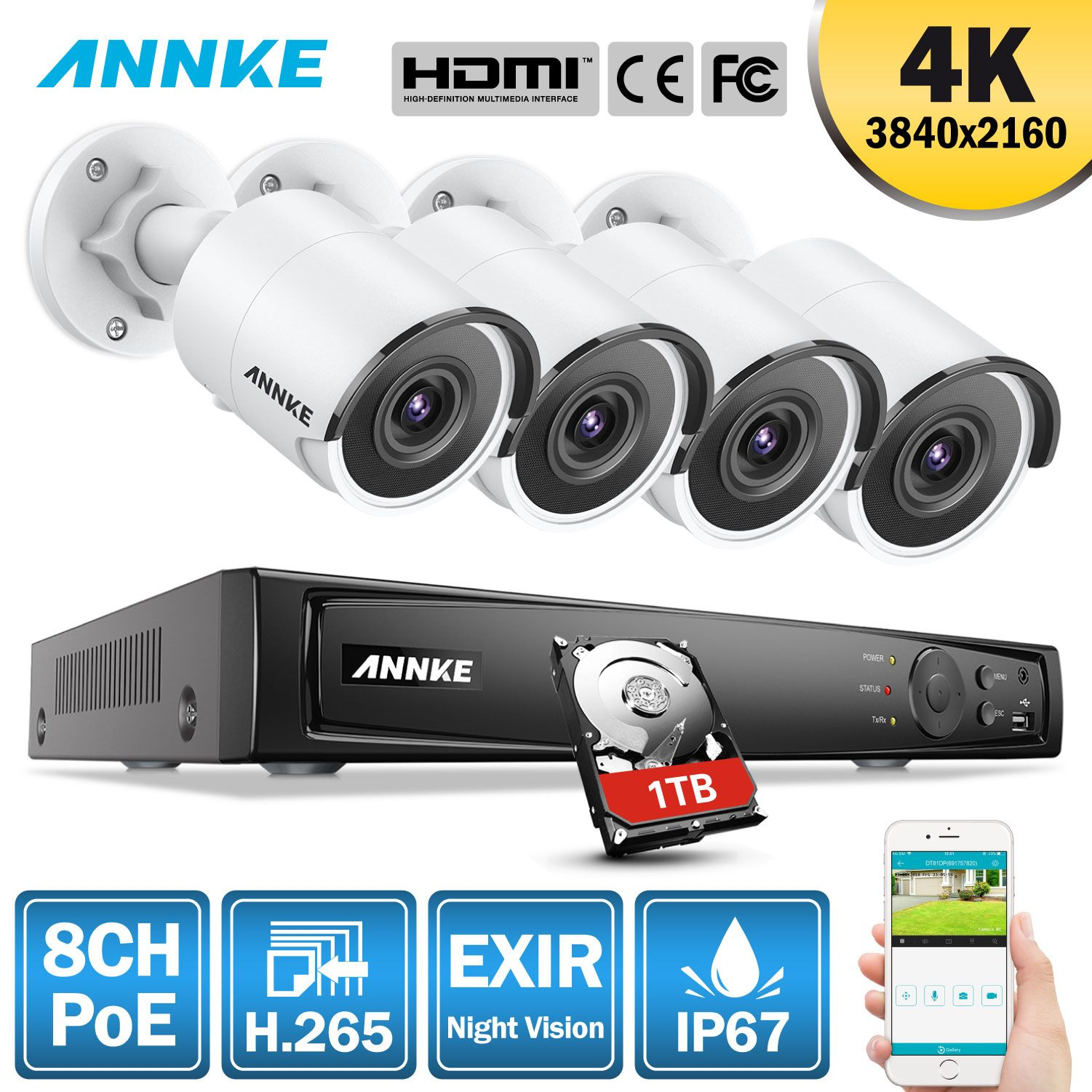 ANNKE 8CH 4 K Ultra HD POE Netzwerk Video Security System 8MP H.265 NVR Mit 4 PCS 8MP Wetterfeste IP kamera Mit 1 TB/2 TB/4 TB HDD