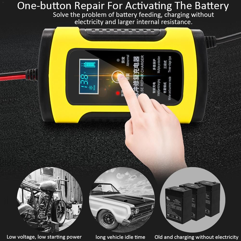 12V 6A Motorcycle Car Battery Charger Fully Intelligent Repair Lead Acid Storage Charger Moto Intelligent LCD Display