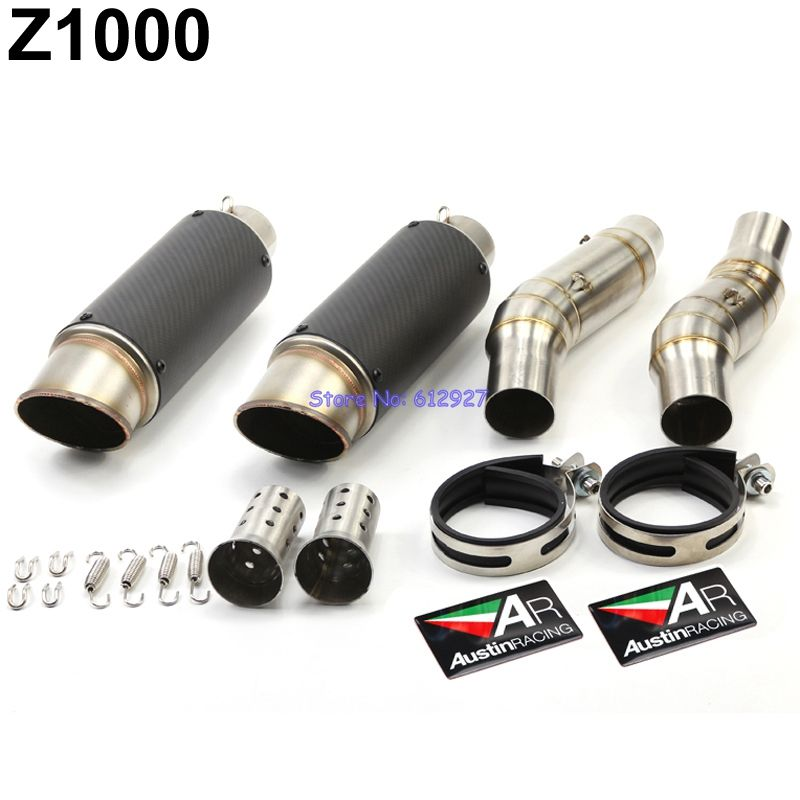 Motorcycle Z1000 Slip On Exhaust Pipe Muffler System and Connect Middle Link Pipe Motorbike Akrapovic AR Exhaust Muffler Escape