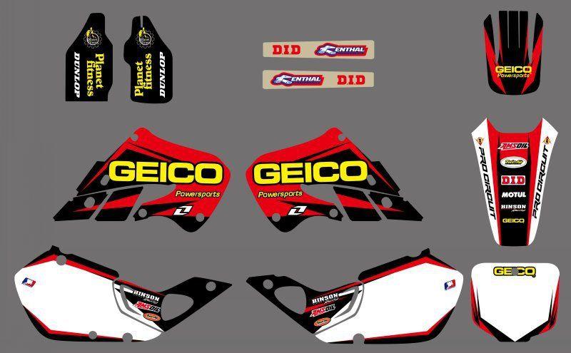 0514 nouveau STYLE rouge et blanc équipe décalcomanies graphiques et arrière-plans autocollant pour Honda CR125 CR250 1997 1998 1999 CR 125 250