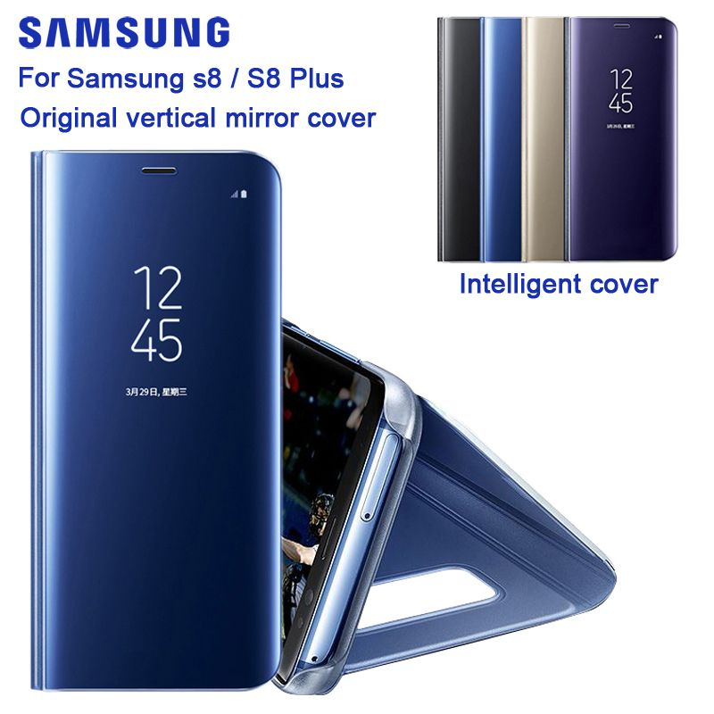 Original Mirror Cover Clear View Smart Cover Phone Case EF-ZG955 For Samsung Galaxy S8 G9500 S8+ Plus With Rouse Slim Flip Case