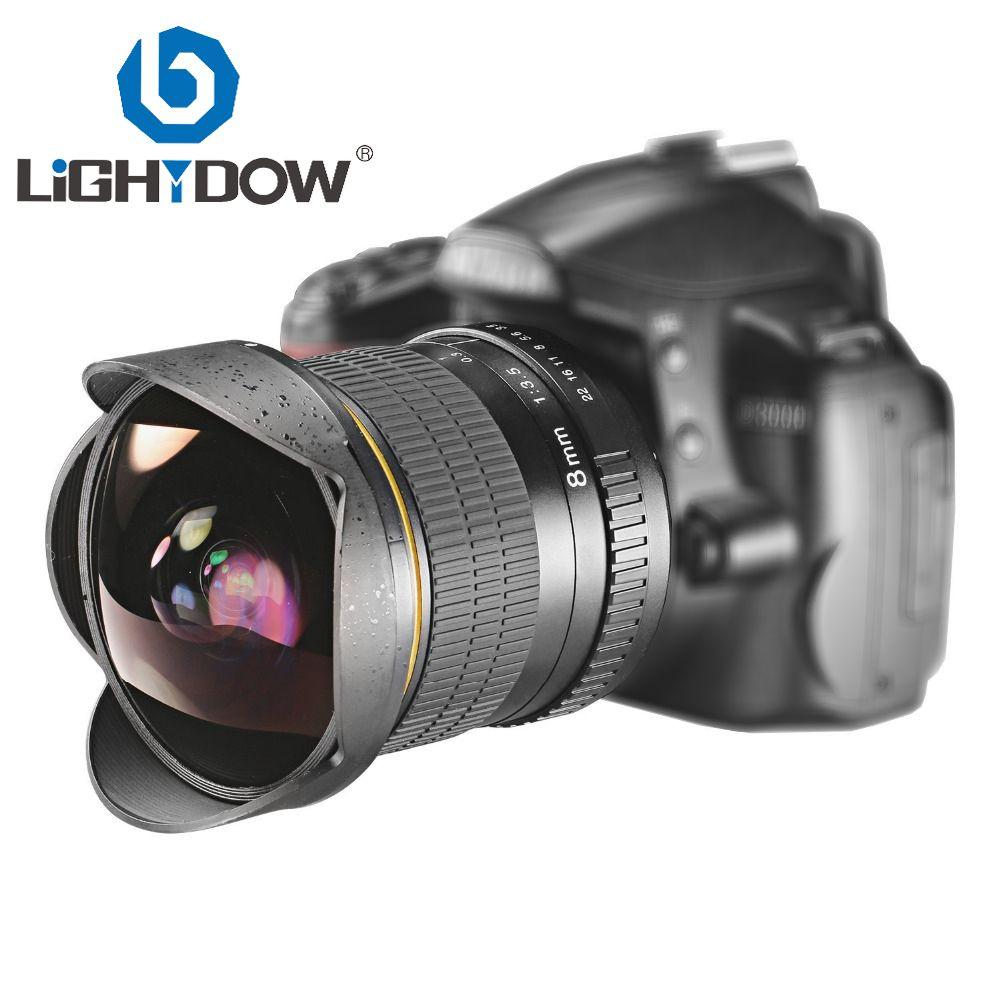 Objectif Fisheye Ultra grand Angle Lightdow 8mm F/3.5 pour appareils photo reflex numériques Nikon D3100 D3200 D5200 D5500 D7000 D7200 D7100 D7300 D7500