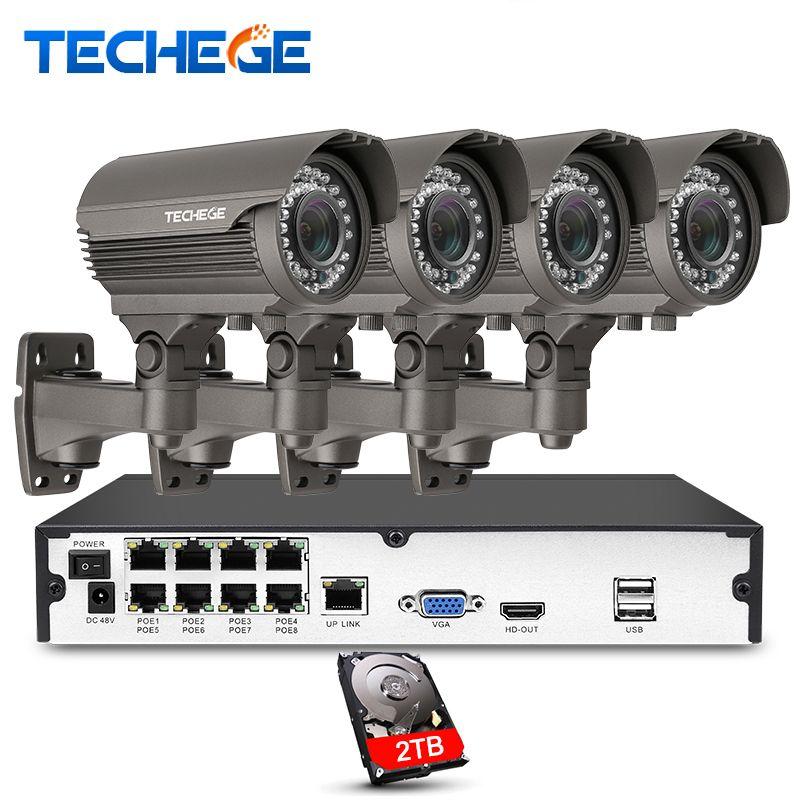 Techege 8CH 1080 P Caméra de Sécurité POE NVR système 2.8-12mm Manuellement lentille 1080 P IP étanche P2P Surveillance CCTV Système Kits