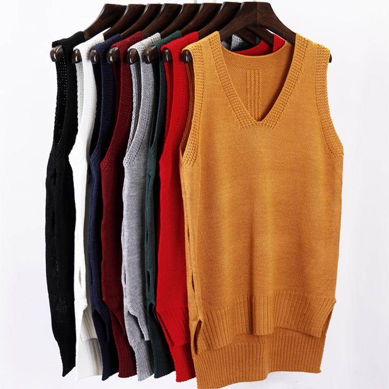 Fall winter 2017 New fashion Autumn Loose sleeveless V neck knitted vest & dress women sweater all-match pullover full femme
