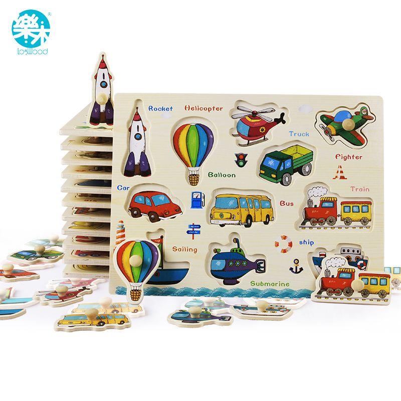 Bébé jouets Montessori en bois Puzzle/main saisir conseil ensemble éducatif en bois jouet bande dessinée véhicule/Animal marin Puzzle enfant cadeau