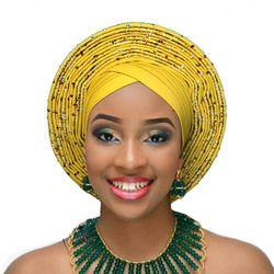 2018 Aso oke nigérian gele headtie déjà fait auto hele turban cap africain aso ebi gele aso oke headtie grand bord