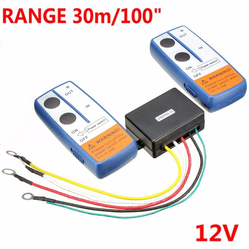 100 Feet Universal Car Wireless Winch Crane Remote Control Controller With Twin Handset Two Matched Transmitters 12V