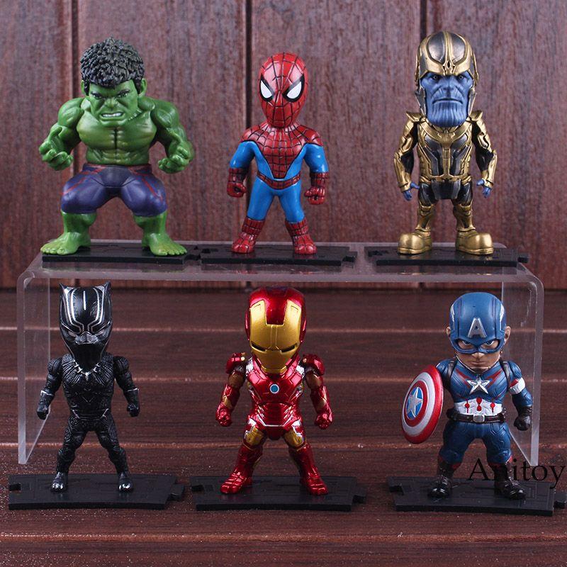 Marvel Action Figure Avengers Captian America Thor Hulk Iron Man Spiderman Thanos Black Panther Figures Toy 6pcs/set 8-9cm