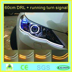1 paar 2 stücke 45 cm/60 cm auto flexible DRL lauf signal weiß gelb led fließende signal bar silikon tagfahrlicht streifen