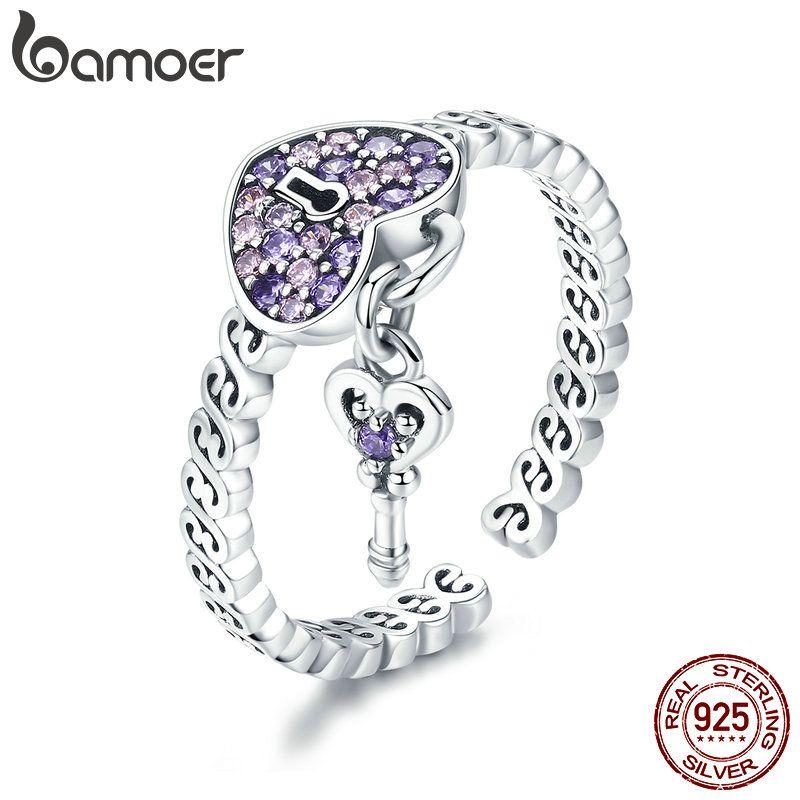 BAMOER Echtem 925 Sterling Silber Liebe Herz Schlüssel Lila CZ Finger Ringe für Frauen Hochzeit Engagement Schmuck Anel SCR486