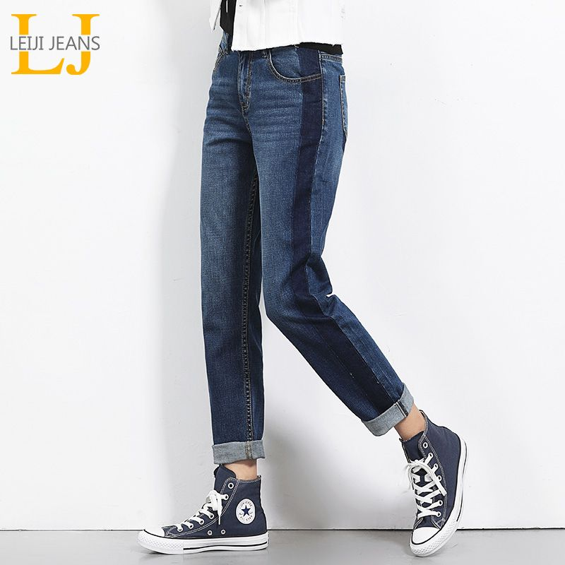 2018 LEIJIJEANS Autumn Plus Size Shadow Panell Bleached Vintage Style Mid Waist Full Length <font><b>Loose</b></font> Straight Jeans For Women 5450