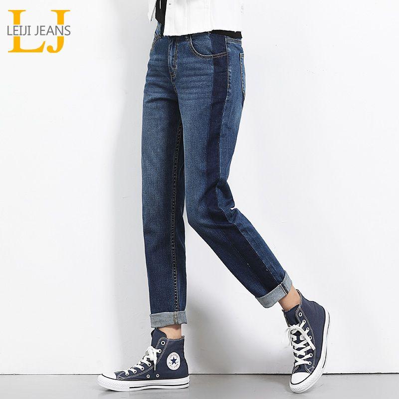 2019 LEIJIJEANS Automne Plus La Taille Ombre Panell Blanchis Vintage Style Mi Taille Pleine Longueur Lâche Droite Jeans Pour Femmes 5450