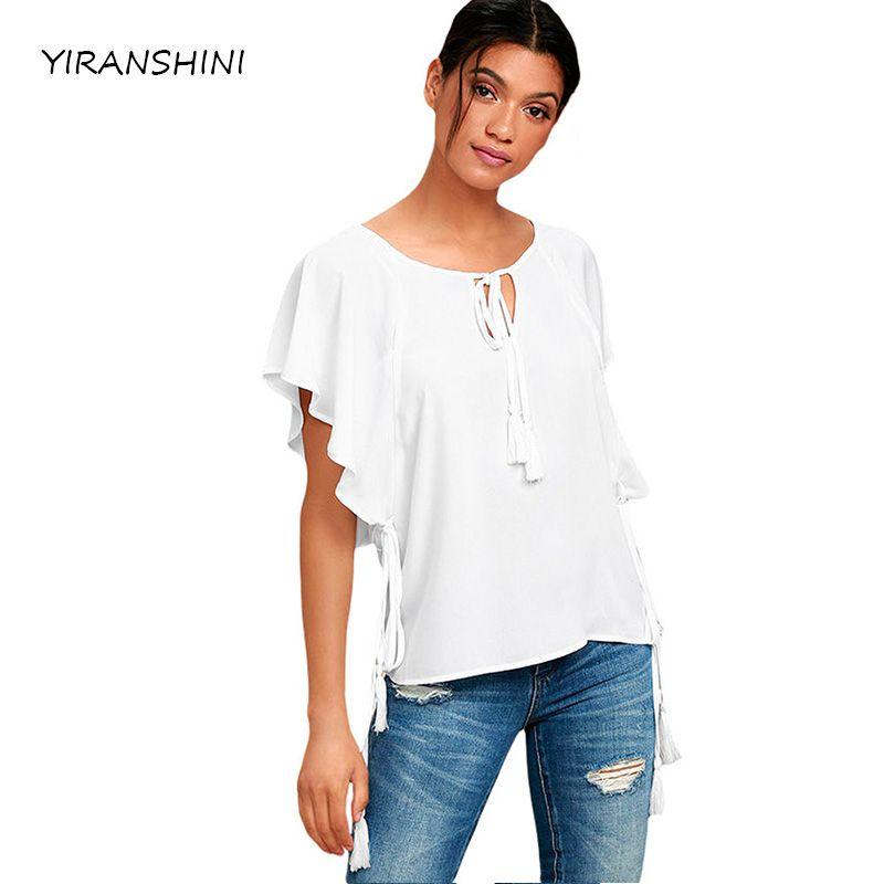 YIRANSHINI 2018 Summer Fashion Women O-neck White Butterfly Sleeve Top with Tassele Sexy Women Ruffles T-shirts LC250067