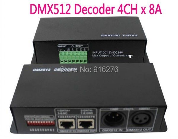 4CH DC12-24V RGBW DMX 512 Decoder led controller, RGB LED DMX512 decoder 4 Channel * 8A , Free shipping
