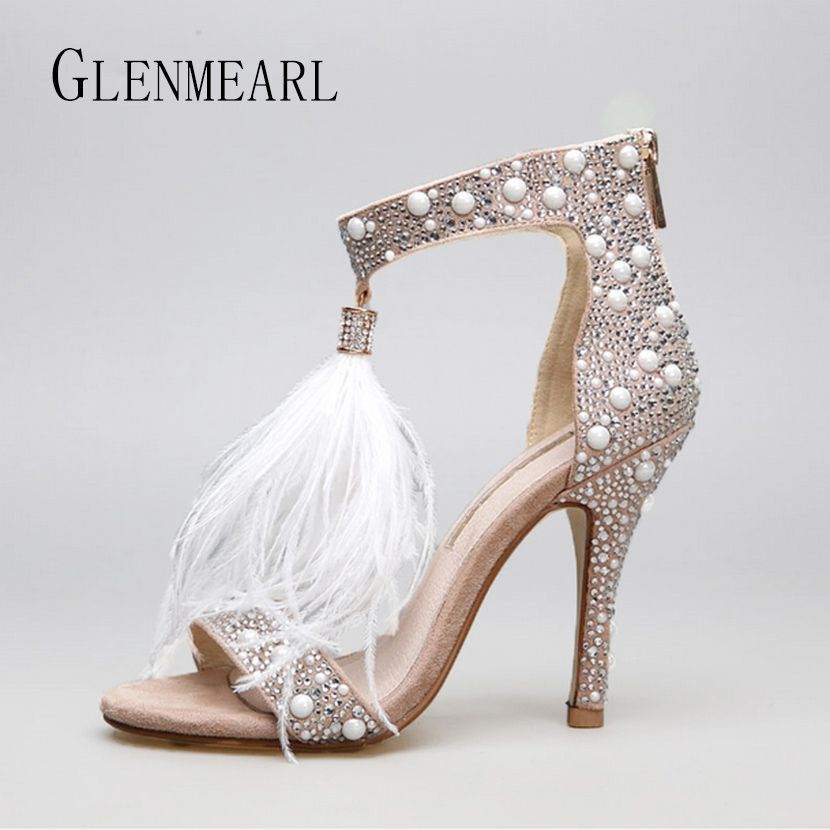 Genuine Leather Women Sandals Pumps Summer Brand Fur Rhinestone Feather High Heel White Women <font><b>Wedding</b></font> Pumps Shoes Plus Size 36