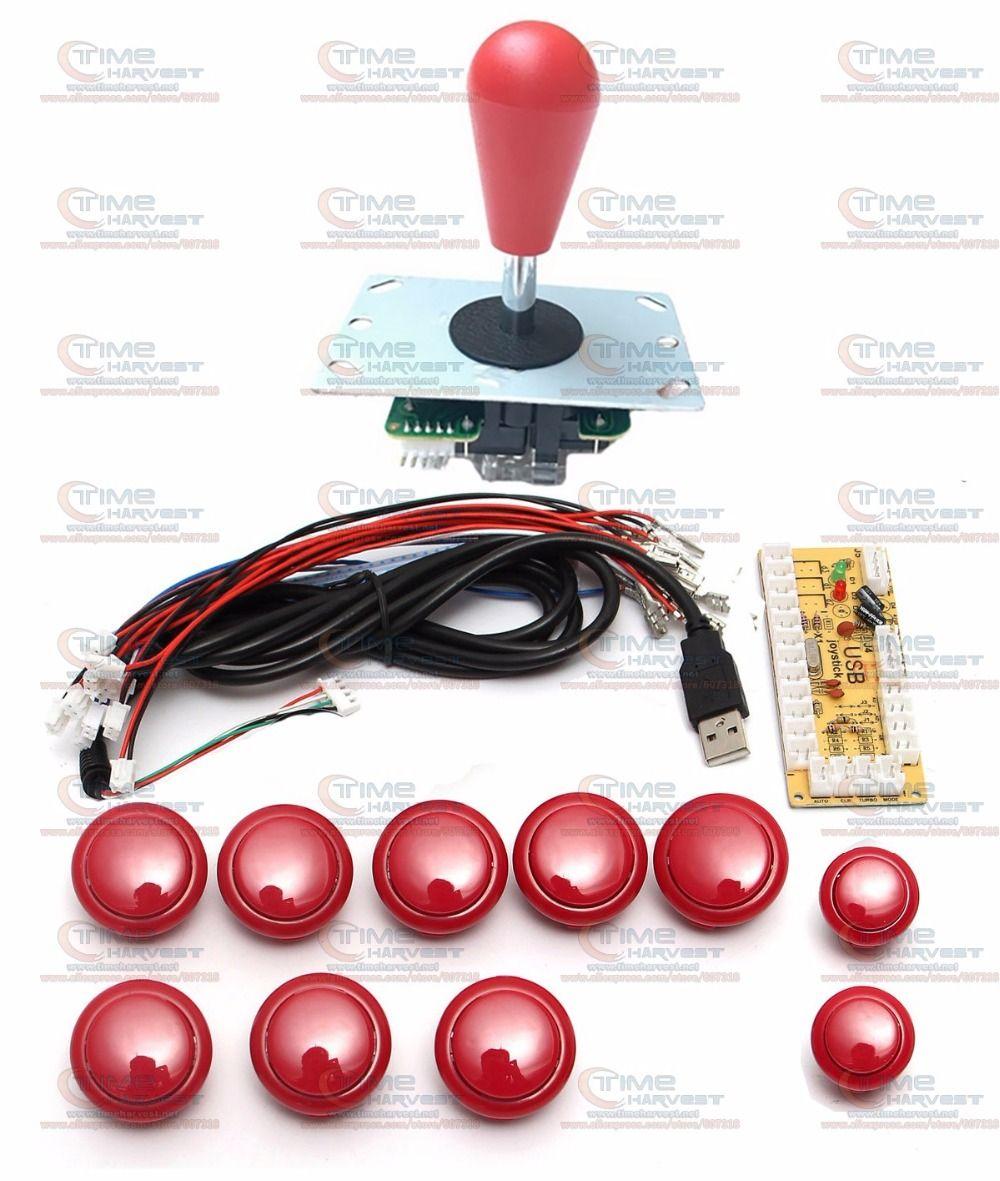 DIY arcade joystick handle set kits with 8 Way Joystick Push buttons <font><b>Zero</b></font> Delay USB adapter to PC joystick button encoder plate