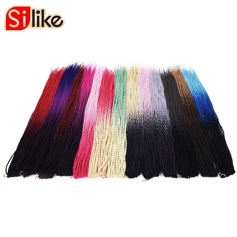 Silike 6 упаковок 30 Корни Сенегальский крутить плетения волос 24 дюймов крючком Ombre вязанная косами волос жаропрочных Волокно для для женщин