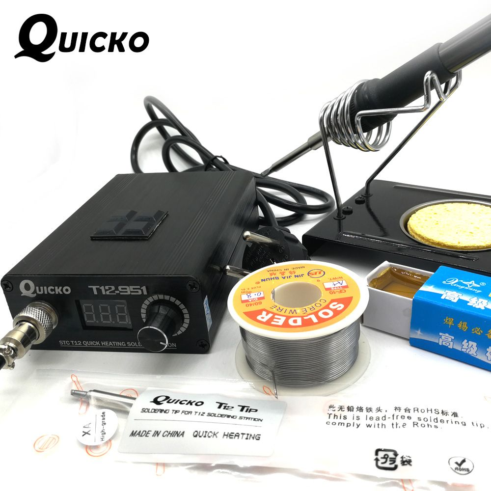 QUICKO 2018 New STC Digital Soldering Iron Station+T12 Handle+T12-K+BCM2+Iron Stand+Solder Core Wire+Carton Rosin+Sponge kits