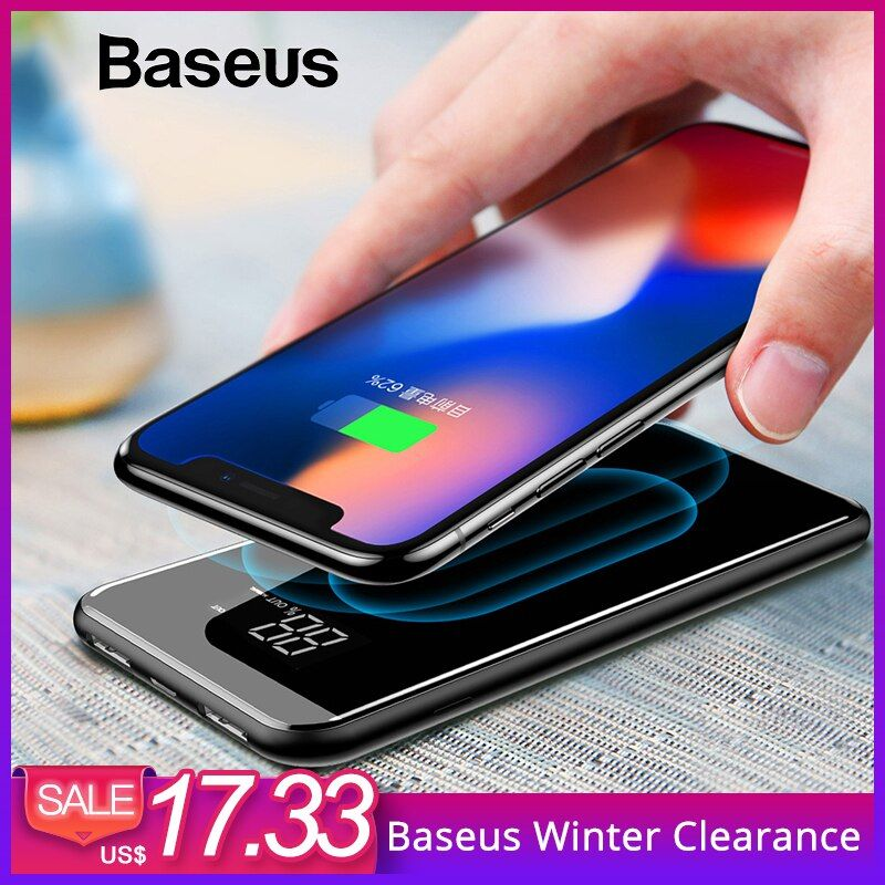 Baseus 8000mAh QI Wireless Charger Dual USB Power Bank For iPhone Samsung Powerbank USB Charger Wireless External Battery Pack