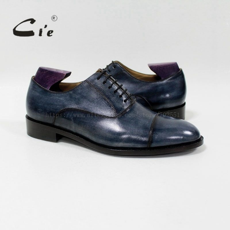 cie round captoe mackay/blake craft bespoke handmade 100%genuine calf leather breathable men's oxford shoe patina navy OX-03-03