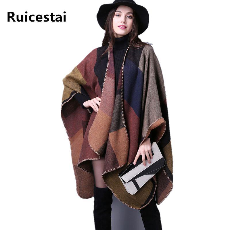 brand 2018 women winter scarf warmer shawl ladies Vintage plaid Blanket knit wrap <font><b>Cashmere</b></font> poncho capes female echarpe pashmina