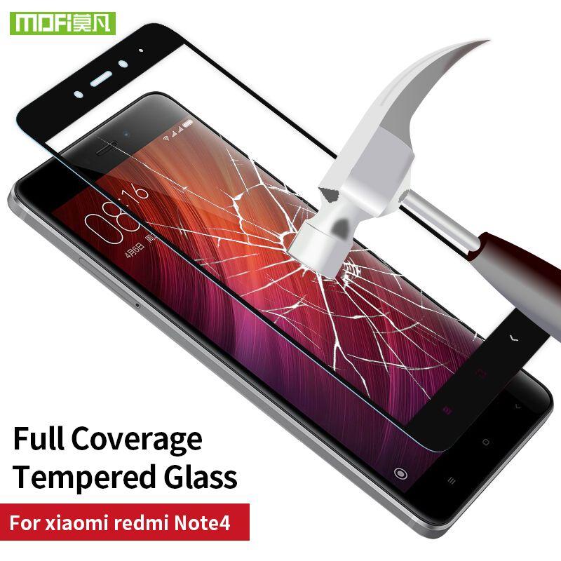 Xiaomi Redmi Note 4 verre 5.5 écran protecteur mondial version trempé 2.5D plein film de couverture Mofi Xiaomi Redmi Note 4 pro en verre