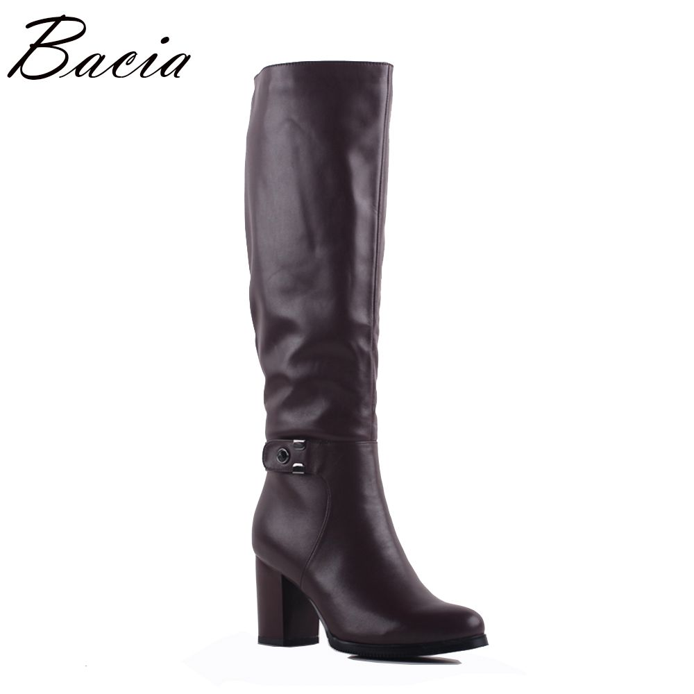 Bacia Herbst Winter Stiefel Leder Frauen Kuh Leder Wolle Stiefel Mode Vintage Stil Weibliche Schuhe Knie-Hohe Casual Schuhe SA078