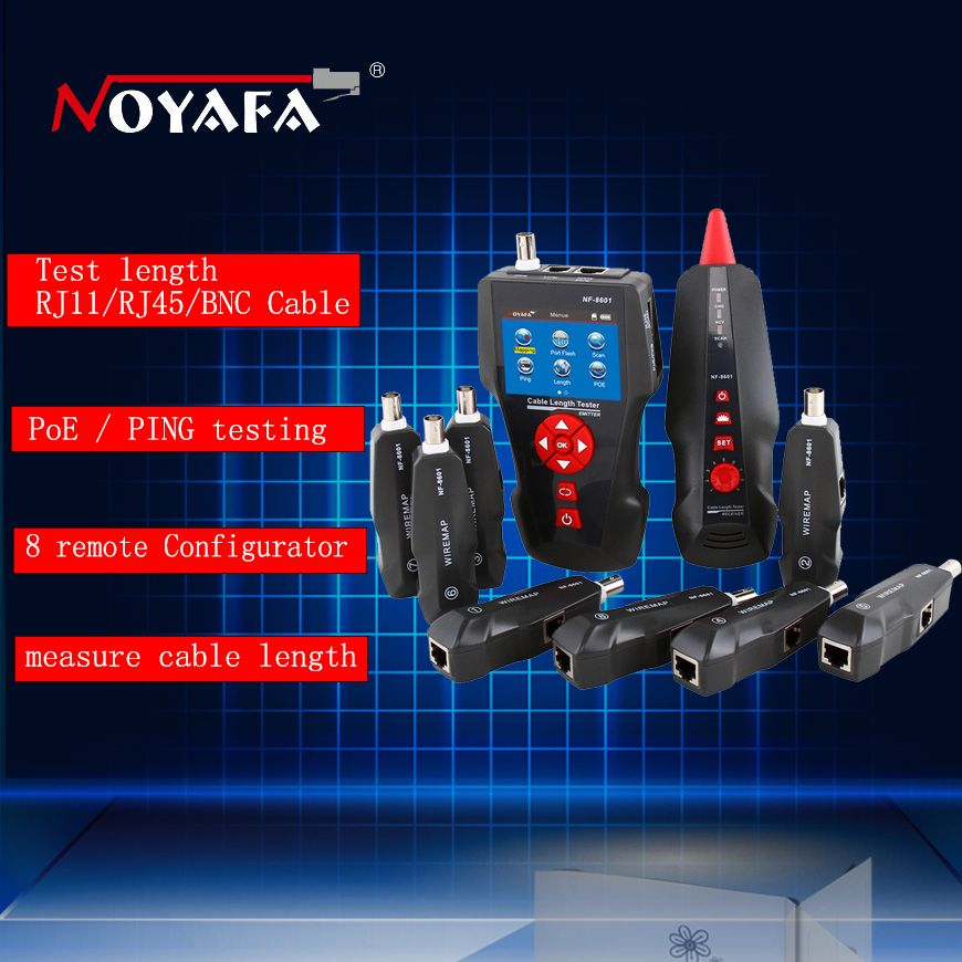 Noyafa NF-8601W Multi-functional Network Cable Tester LCD Cable length Tester Breakpoint Tester For RJ45, RJ11, BNC, PING/POE