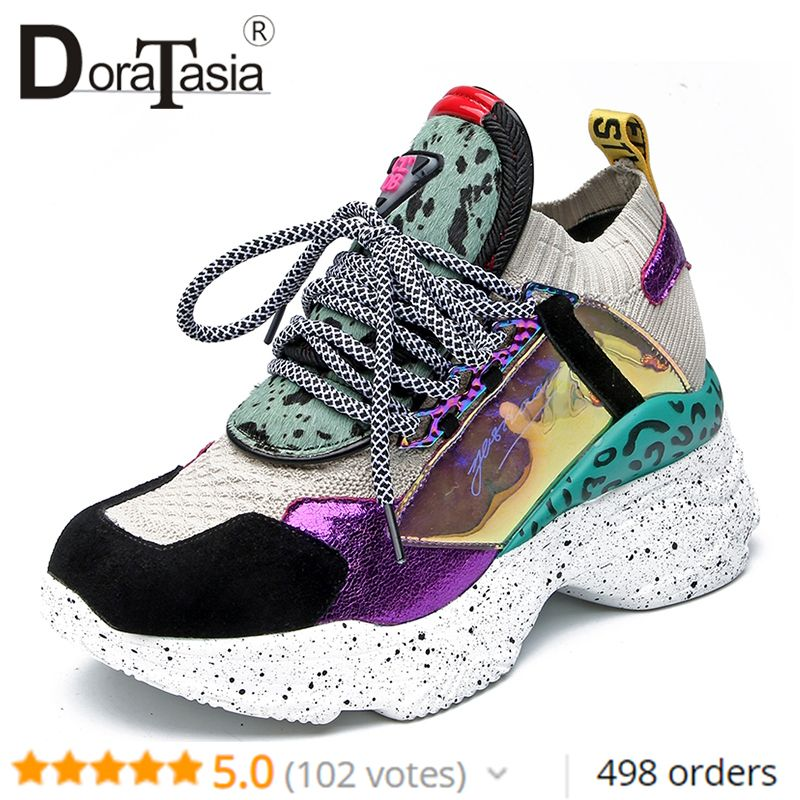 DoraTasia New 35-42 Genuine Leather Suede Sneakers Women 2019 Spring Horsehair Platform Dad Shoes Casual Flat Women Shoes Woman