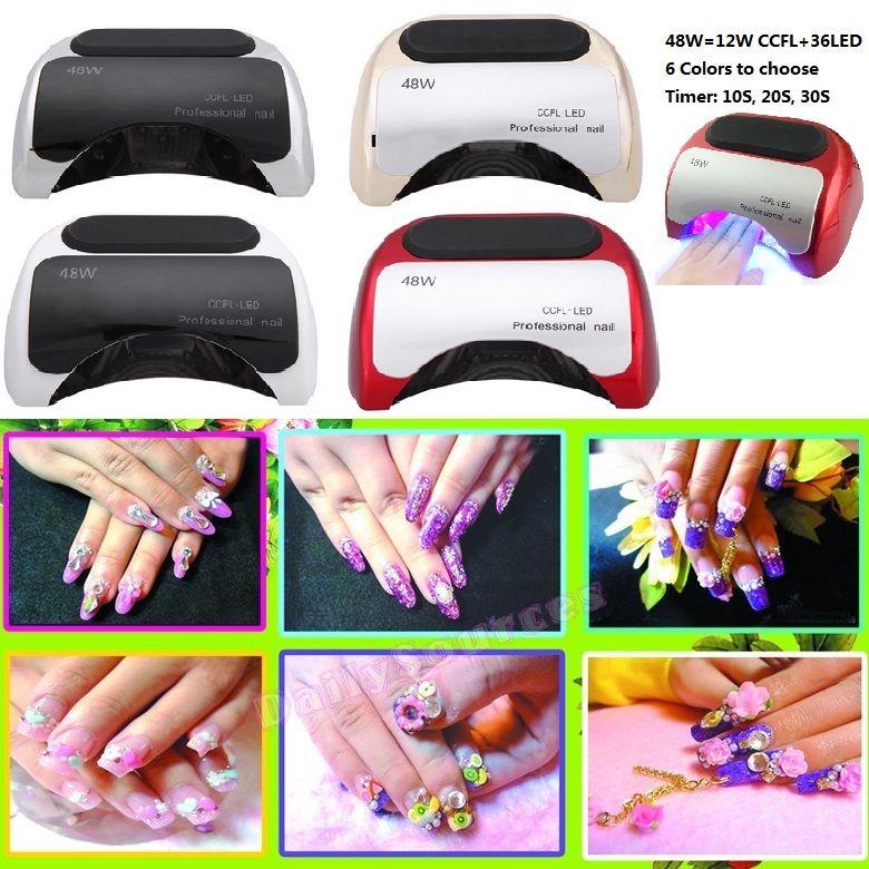 48w led UV lamp for nail Polish Gel fast dry Curing Nail tools with automatic hand sensor EU AU US UK plug 12W CCFL + 36W LED
