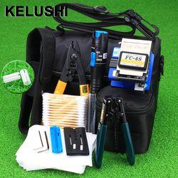 KELUSHI 13 piezas práctico FTTH fibra óptica Kit de herramientas con FC-6S fibra Cleaver y 5 MW Localizador Visual de fallos de fibra óptica