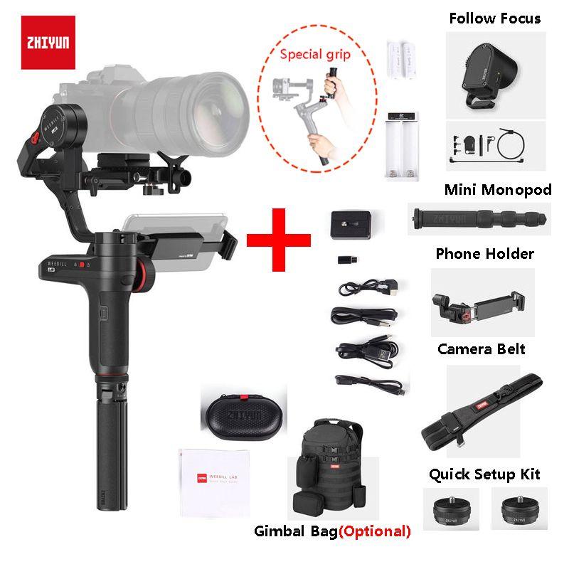 Zhiyun Weebill LABOR 3-Achse Handheld Gimbal Stabilisator für Spiegellose Kameras + Einbeinstativ + Handy Halter + Servo Folgen fokus