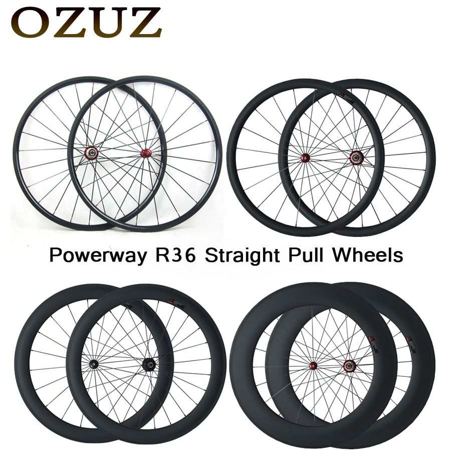 Free Custom Fee Straight Pull Powerway R36 Hub Carbon Wheels 24mm 38mm 50mm 60mm 88mm Clincher Tubular Road Bike Bicycle Wheel