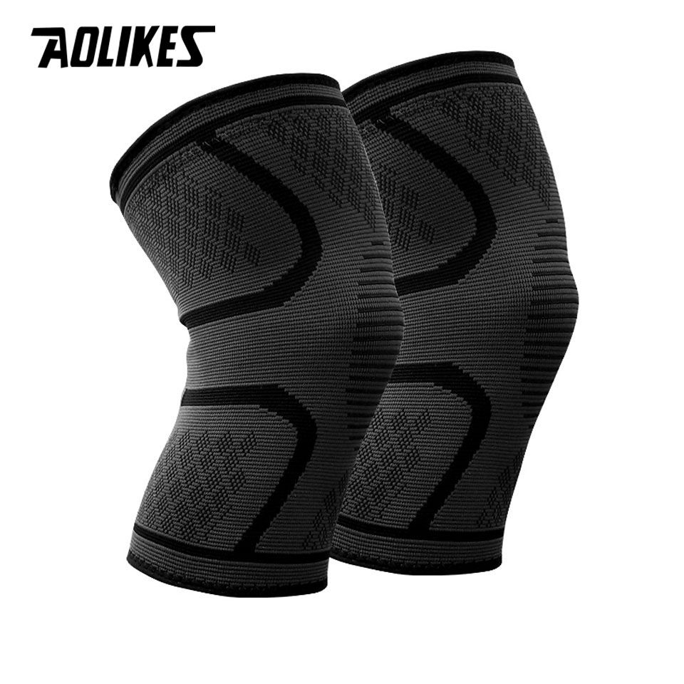 1 Pair Nylon Elastic Sports Knee Pads Breathable Knee Support Brace Running Fitness Hiking Cycling Knee Protector Joelheiras