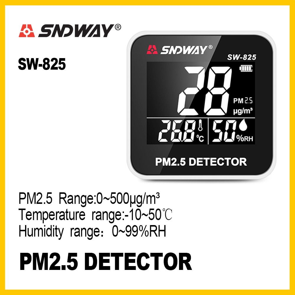 SNDWAY Digital Air Quality Monitor Gas monitor analyzer Temperature humidity meter tool PM2.5 Detector tester SW-825