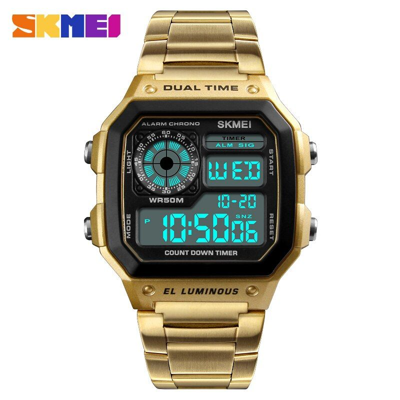 SKMEI Mens Watches <font><b>Relojes</b></font> Deportivos Sports Watch Waterproof Stainless Steel Fashion Gold Digital Wristwatches Male Clock