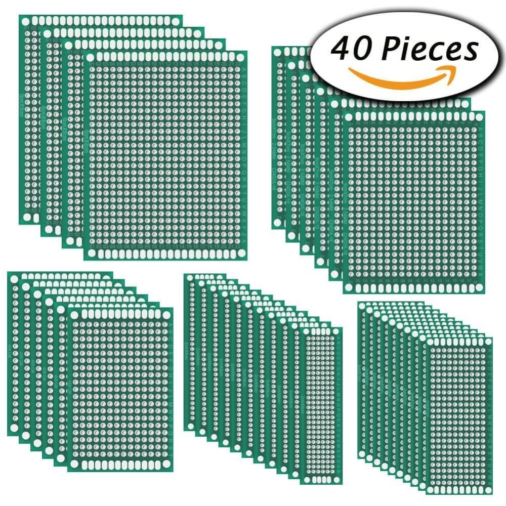 36 Pcs Double Sided PCB Board Prototype Kit for DIY Soldering and Electronic DIY projects, 5 Sizes