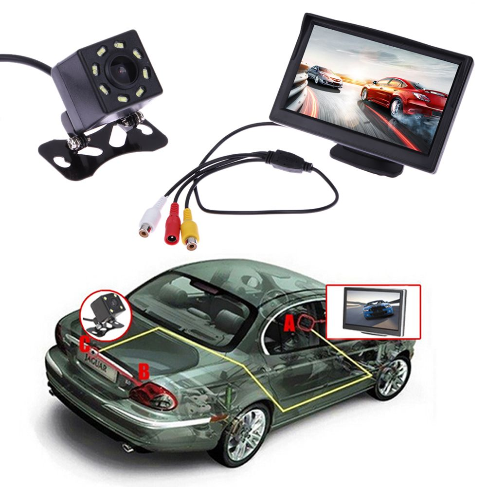 5 Inch TFT LCD Rear View Display Monitor + Waterproof Night Vision Reversing Backup Rear View Camera High Quality Car Monitors