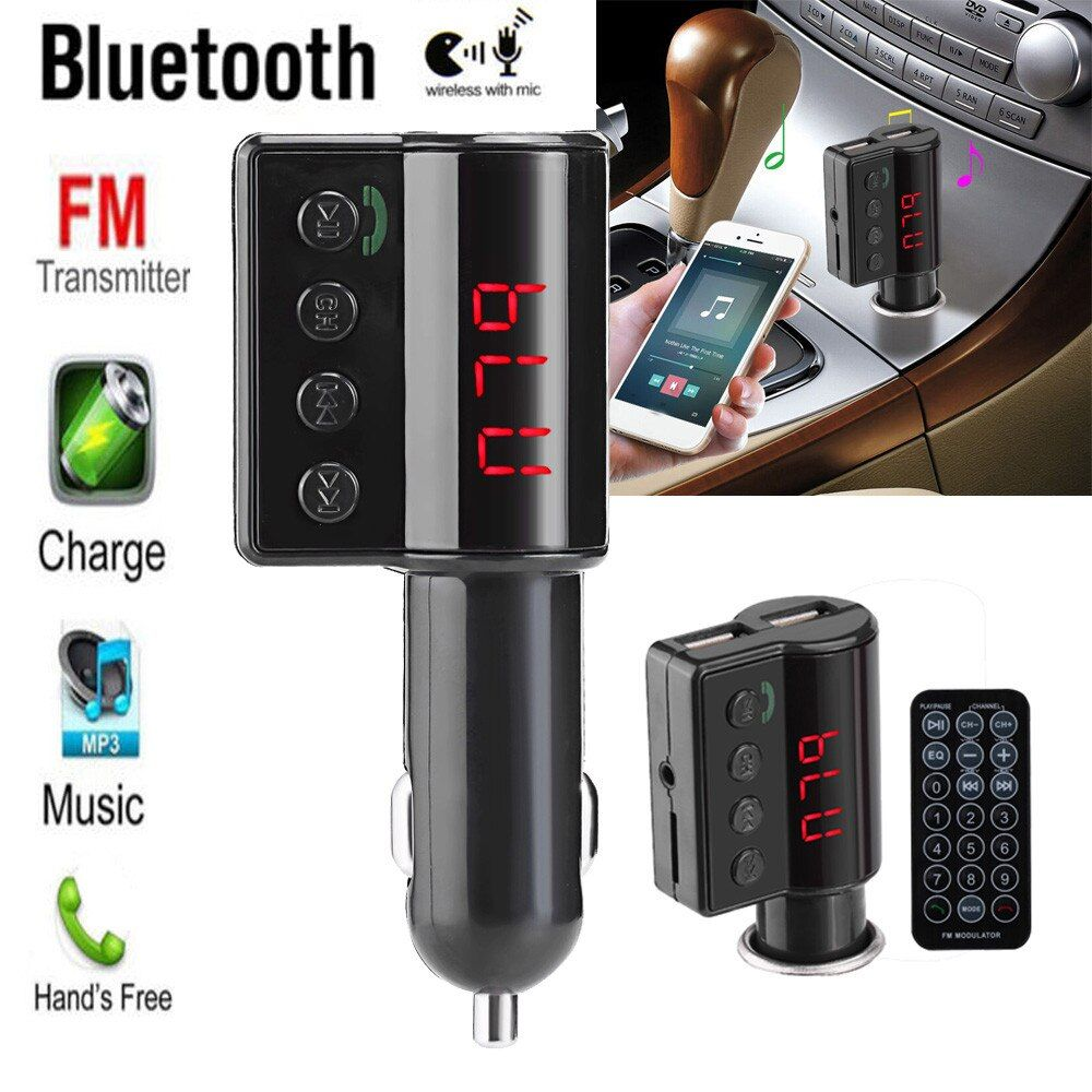 2017##Wireless LCD Bluetooth Car Kit MP3 Player FM Transmitter Dual USB Charger Remote &Wholesale