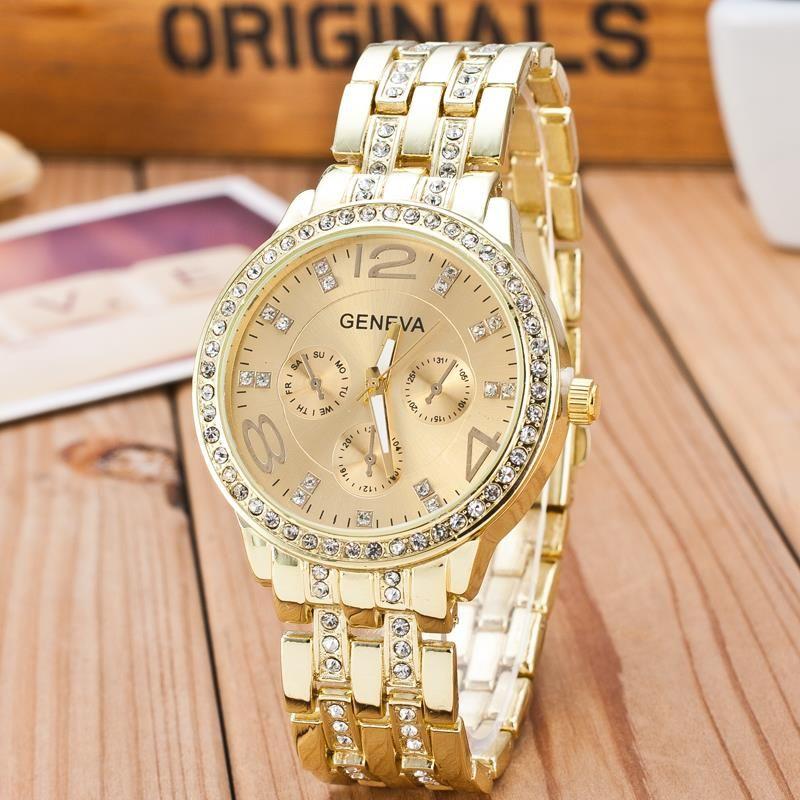 2018 New Famous Brand Gold Crystal Geneva Casual Quartz Watch Women Stainless Steel Dress Watches Relogio Feminino Men Clock Hot